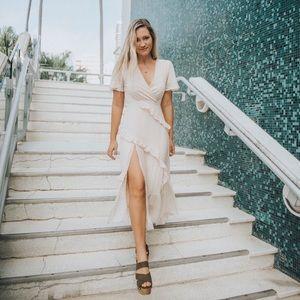 Lulus cream high slit midi dress